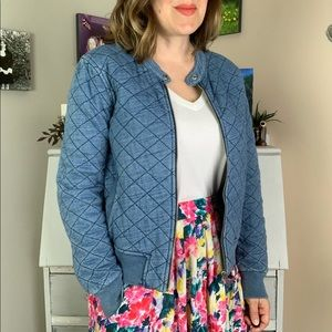 Gap Blue Quilted Cropped Bomber Style Jacket